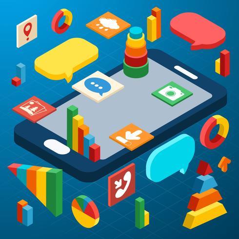 Isométrique smartphone infographique vecteur