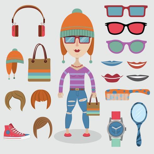 Ensemble fille hipster vecteur