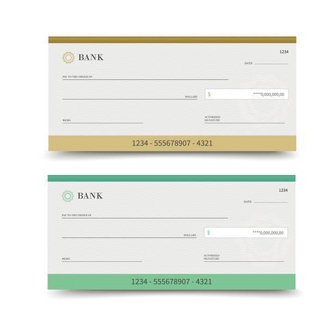 Chèque bancaire isolé vecteur
