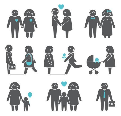 Ensemble d'icônes femmes et hommes vecteur