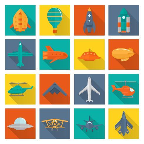 Ensemble d'icônes d'avion vecteur