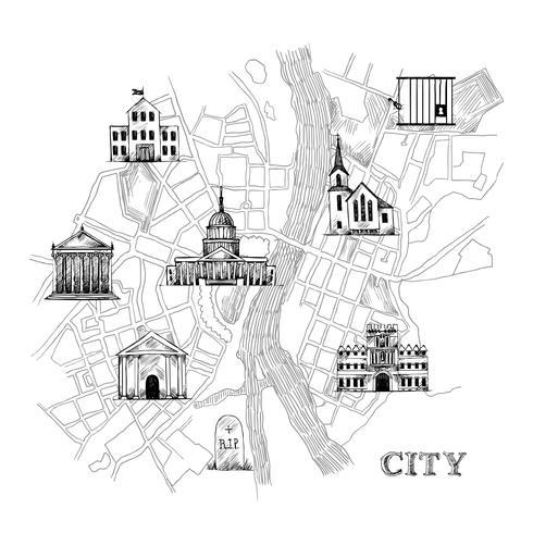 Information sur la carte de la ville vecteur