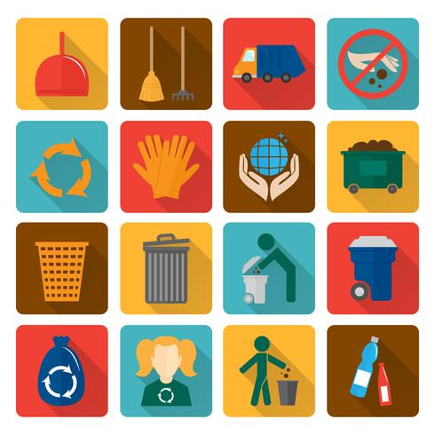 garbage icons set vecteur