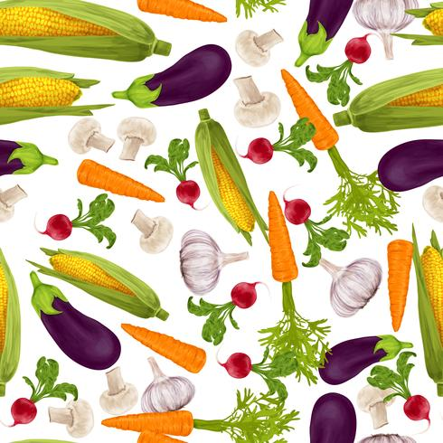 Modèle sans couture réaliste de légumes vecteur