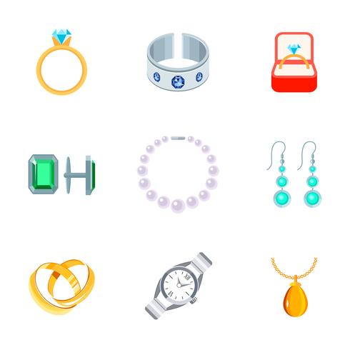 Bijoux Icons Flat vecteur