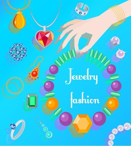 Affiche de mode de bijoux vecteur