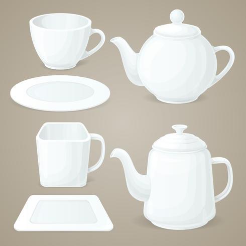 Set de vaisselle blanche vecteur