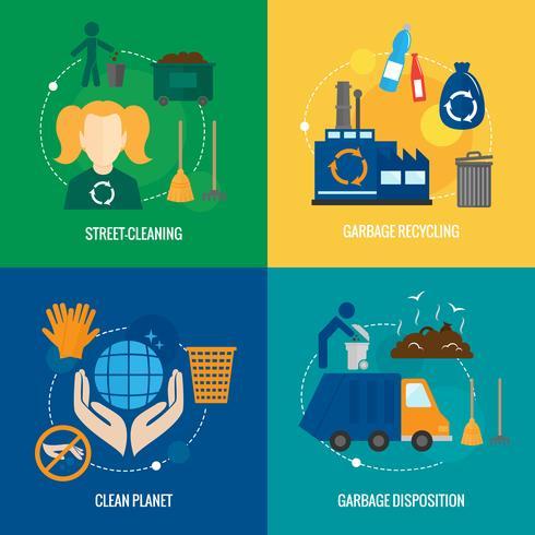 Composition d'icônes de déchets vecteur