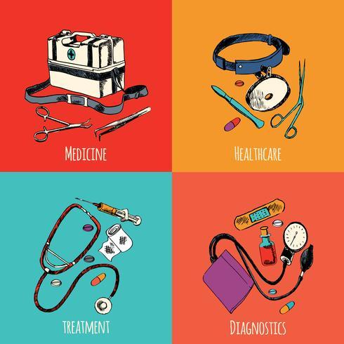 Jeu de couleurs des icônes d'esquisse de médecine vecteur