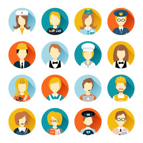 Avatar de profession sur des cercles vecteur
