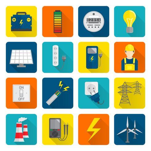 Électricité Énergie Icons Set vecteur