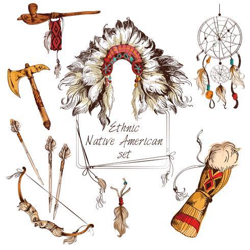Ensemble ethnique amérindien coloré vecteur