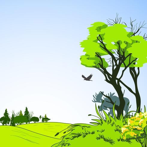 Affiche de croquis de forêt vecteur
