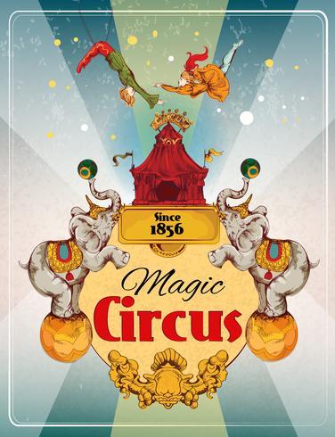 Affiche rétro cirque vecteur