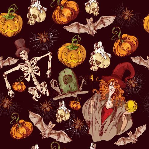 Modèle sans couture Halloween vecteur