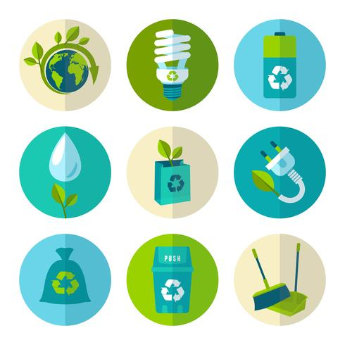 Écologie et déchets plat ensemble d'icônes vecteur