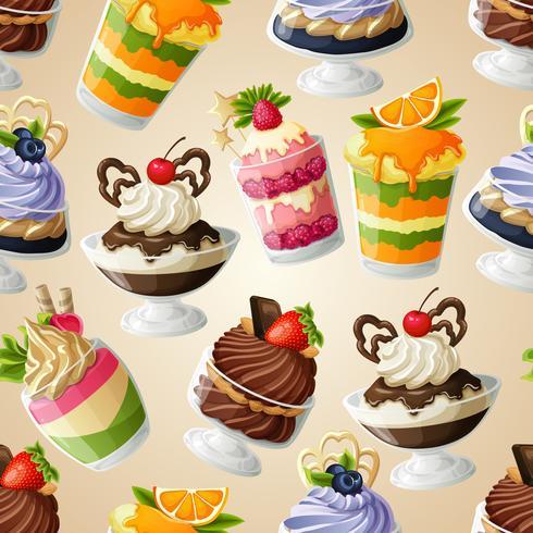 Modèle sans couture de dessert bonbons vecteur