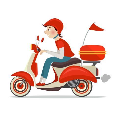 Icône de livraison de scooter vecteur