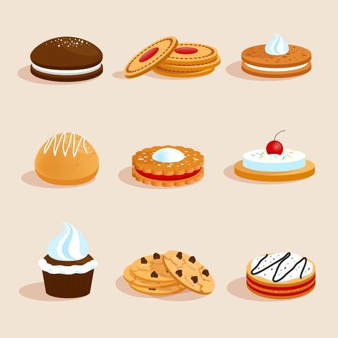 Set de cookies isolé vecteur