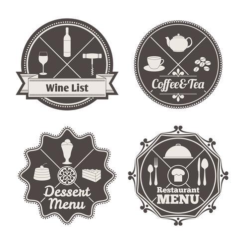 Étiquettes de menu de restaurant vecteur