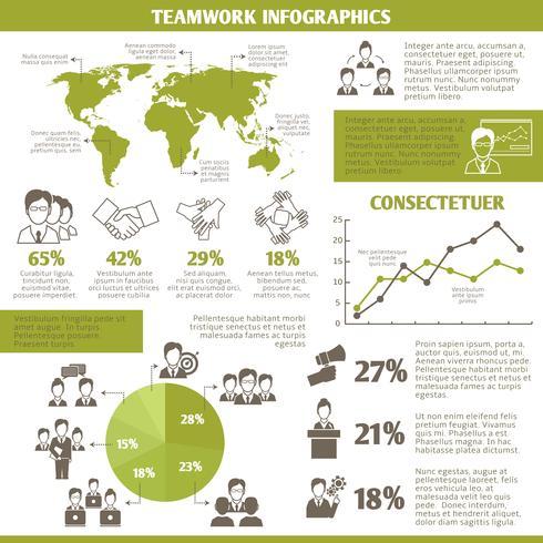 Infographie de travail d'équipe vecteur