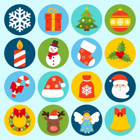 Jeu d'icônes de Noël vecteur