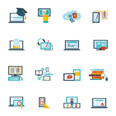 e-learning icon flat vecteur