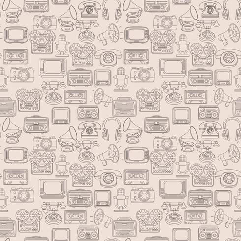 Modèle sans couture de médias rétro vecteur