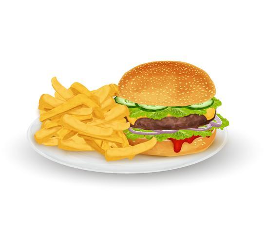 Hamburger sur assiette vecteur