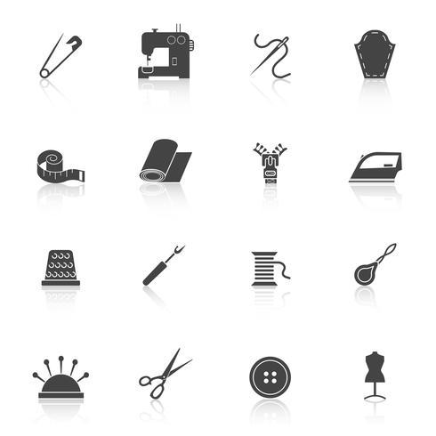 Icônes d'équipement de couture définies en noir vecteur