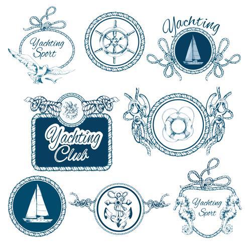 yachting sketch emblems set vecteur
