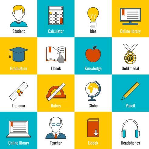 icônes de l'éducation à plat vecteur