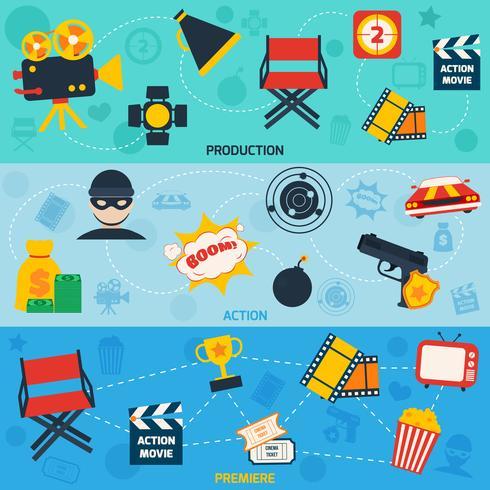 Bannières de ligne de film d'action vecteur