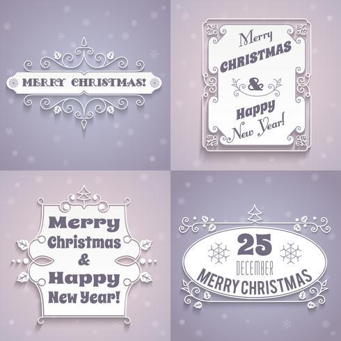 Ensemble d'étiquettes de Noël blanc vecteur