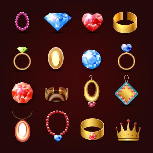 Jeu d'icônes de bijoux vecteur