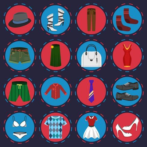 Ensemble d'icônes de vêtements vecteur