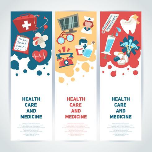 Bannières verticales médicales vecteur