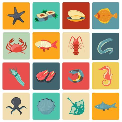 Icônes de fruits de mer mis à plat vecteur