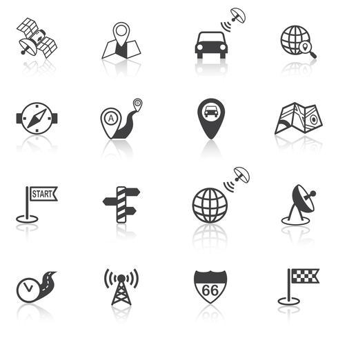 Icônes de navigation mobile noires vecteur