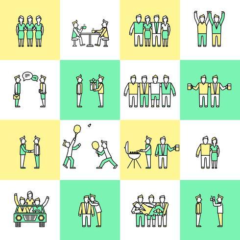 Ligne plate icônes amis vecteur