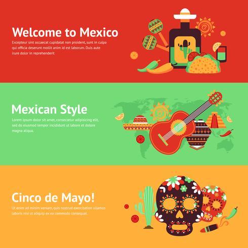 Ensemble de bannière Mexique vecteur