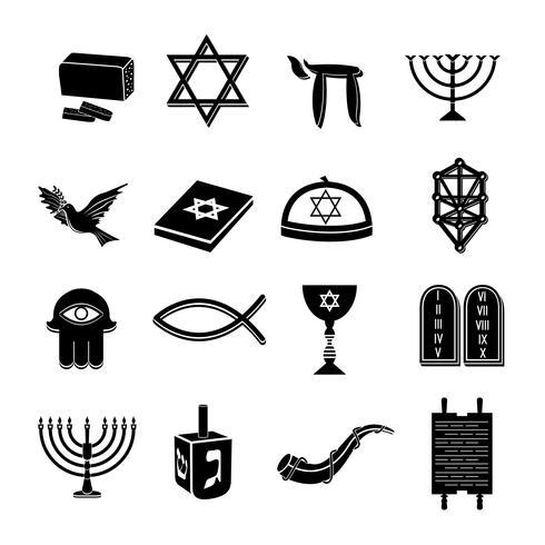 Icônes de judaïsme mis en noir vecteur
