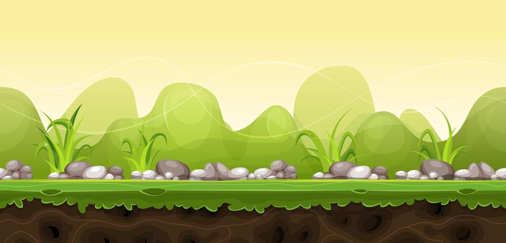 Paysage vert sans couture pour le jeu Ui vecteur