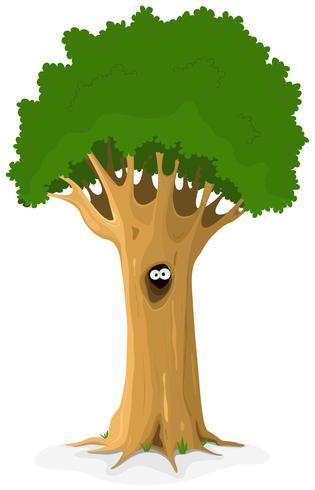 Hibou ou animal yeux dans arbre creux vecteur