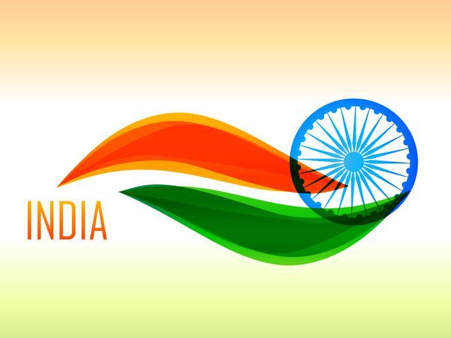 drapeau indien fait en style vague vecteur