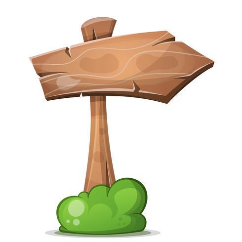 Flèches de bois dessin animé avec buisson vecteur