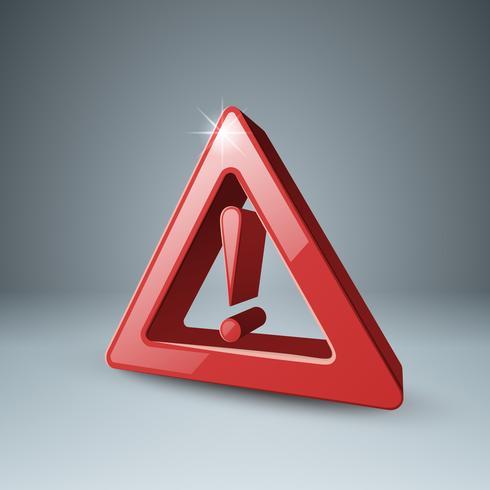 Attention d'icône 3d rouge, danger. vecteur