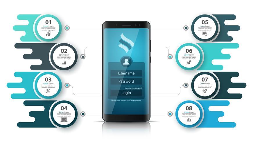 Infographie de l'entreprise Smartfone. Graphique de l'entreprise. vecteur
