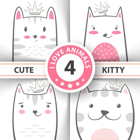 Définissez des personnages mignons et jolis pour les chats et les chatons. vecteur