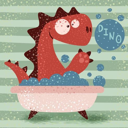 Dino mignon laver dans la salle de bain vecteur